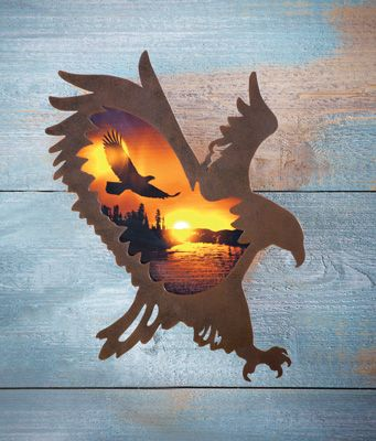 Lighted Eagle Silhouette Wall Decor | Wood pallet art ...