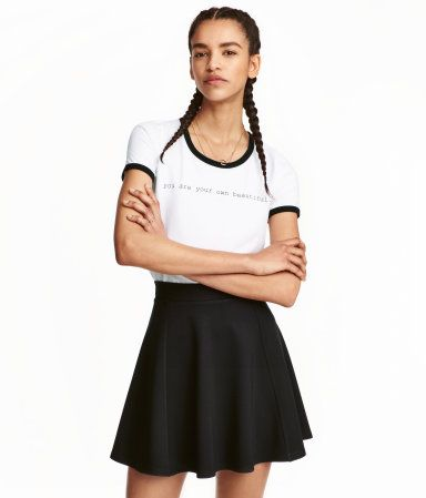 4b07266ca517 Black/checked. Short circle skirt in jersey. Unlined. | Wishlist ...