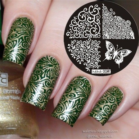 Classic Leaves Butterfly Flower Wave Nail Art Stamp Template Image - stamp template