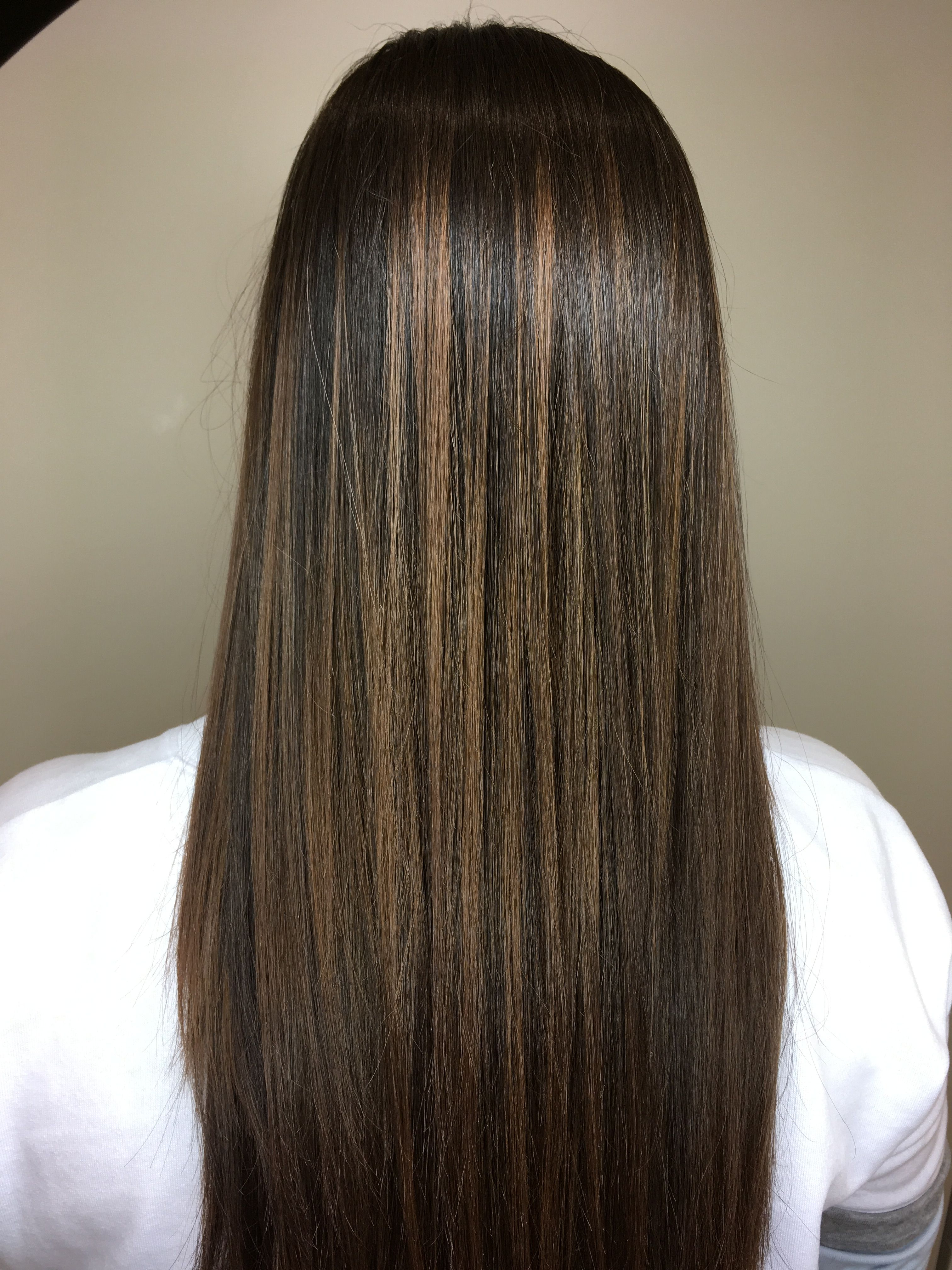 Medium Brown Hair With A Caramel Balayage Straight Hairstyles Hair Highlights Balayage Straight Hair
