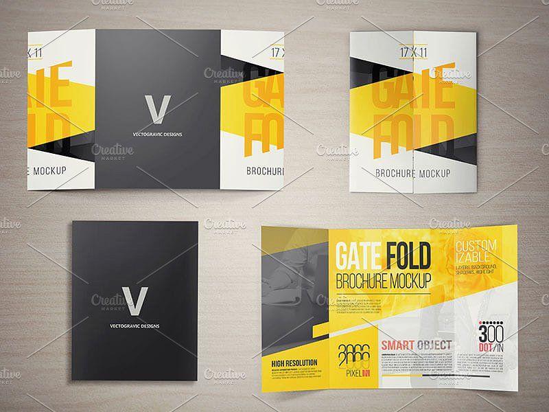 17 X 11 Gate Fold Brochure Mockups Brochures Mockups Brochure Design Template Indesign Brochure Templates