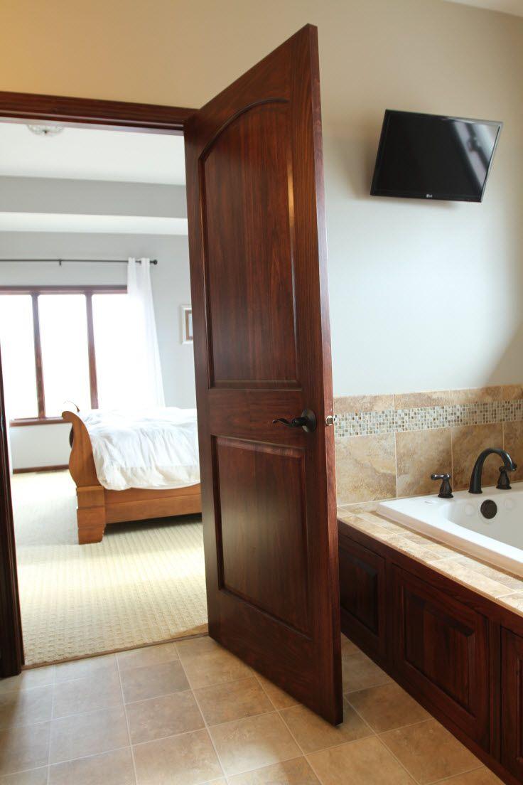 Interior doors poplar panel bathroom door with a dark stain