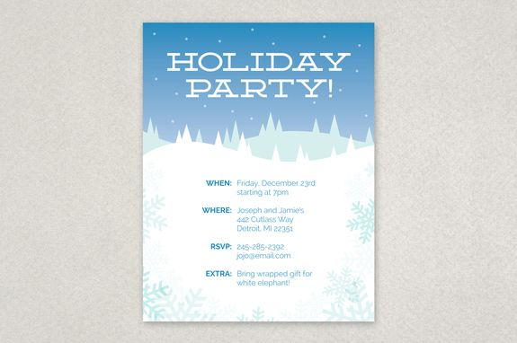 Winter Holiday Party Flyer Template A Peaceful Snow Scene Serves