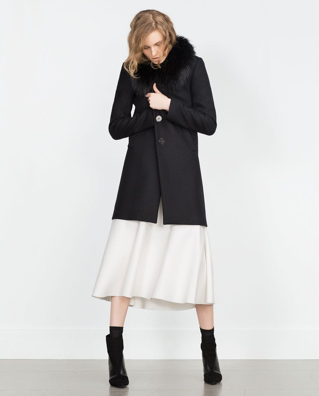 4f450649 Image 1 of COAT WITH FAUX FUR COLLAR from Zara | Winter Wonderland ...