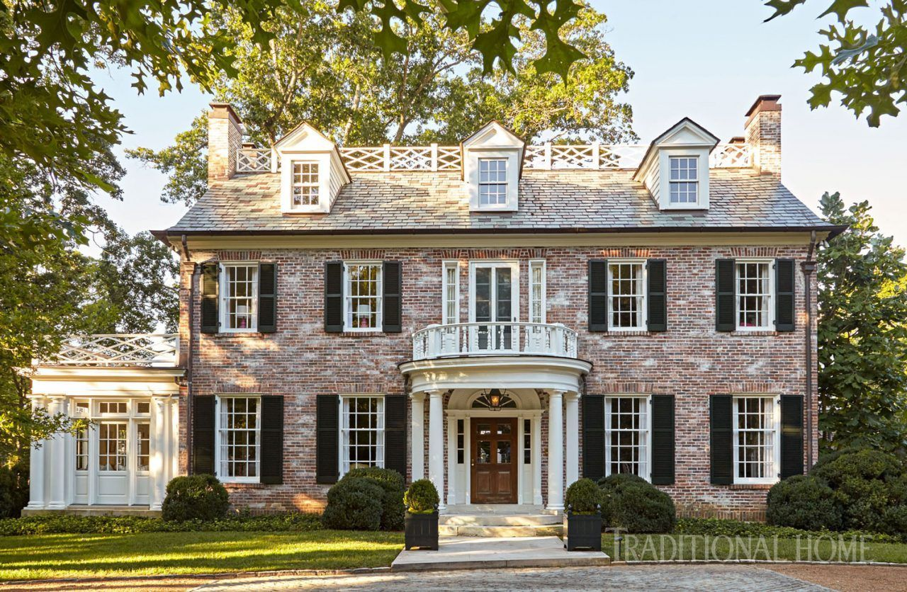 Sarah Bartholomew Infuses A 1920s Nashville Home With Color The Glam Pad Colonial House Exteriors Brick Exterior House Colonial House