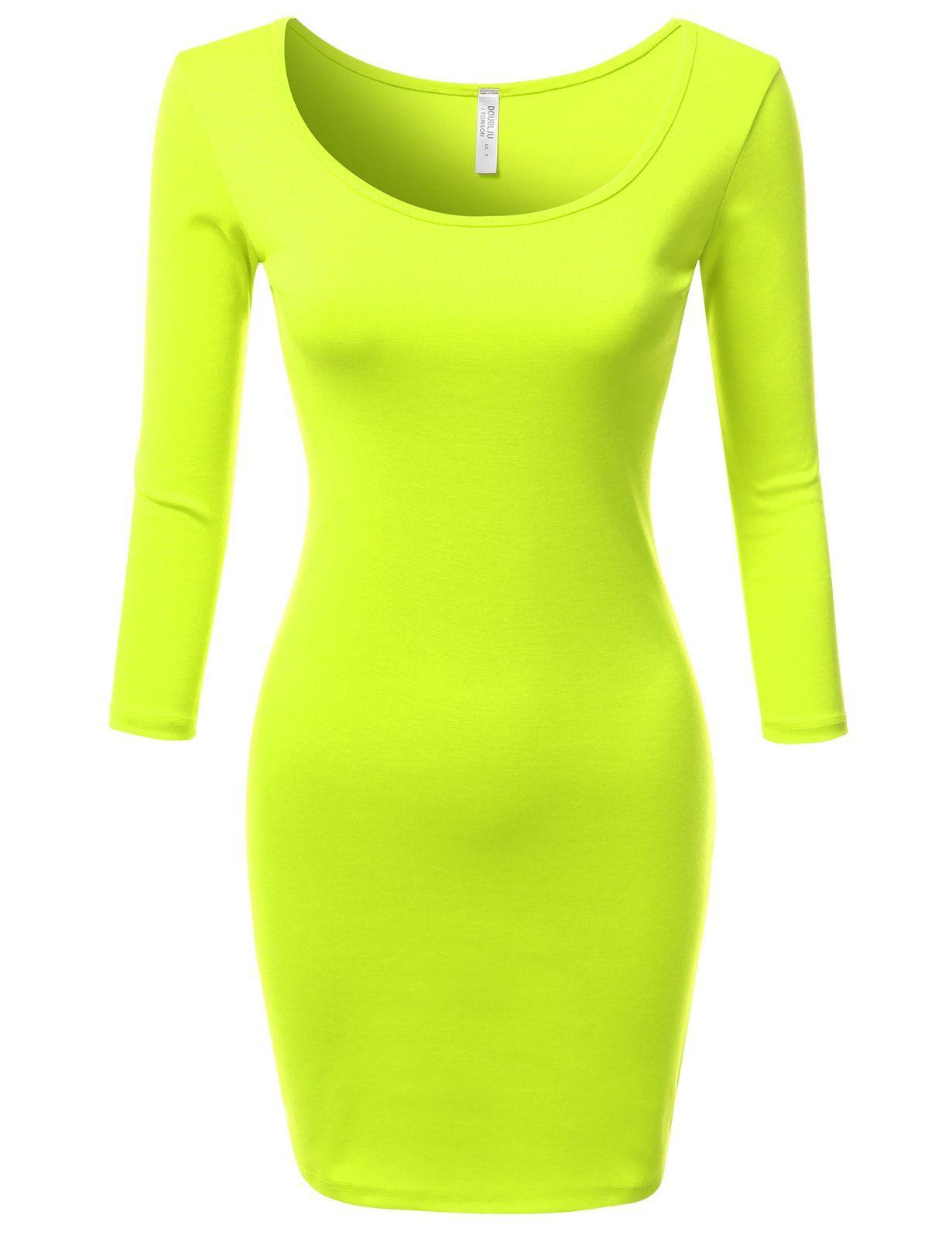 J.TOMSON Women's Wide Round Neck 3/4 Sleeve Raglan Bodycon Mini Short Dress | Amazon.com