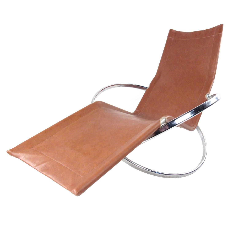 Unique Mid Century Modernist Chrome And Vinyl Chaise Lounge Chair