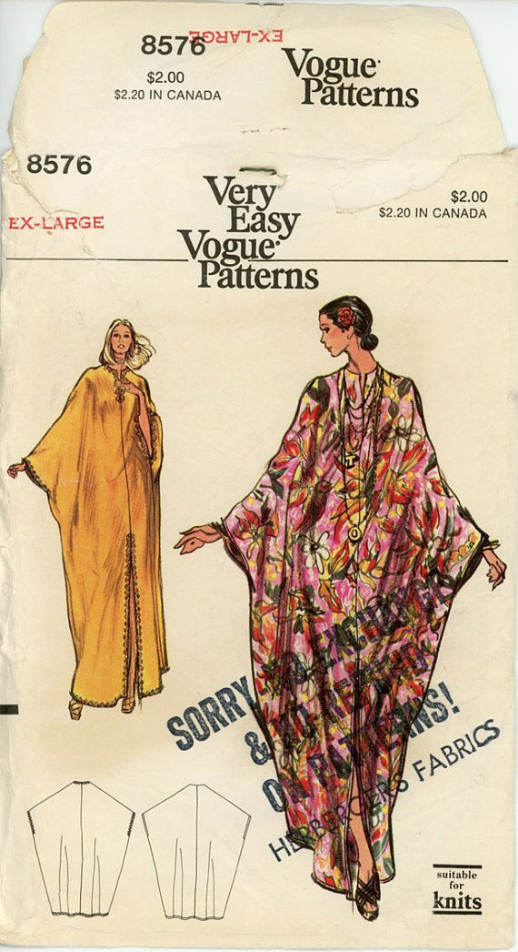 1970s Easy Lounging Caftan Pattern Vogue 8576 42 to di CynicalGirl
