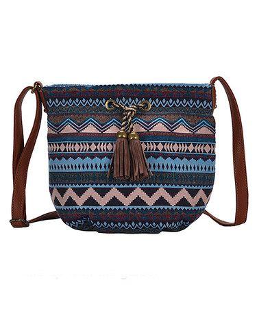 Look what I found on #zulily! Tan Geometric Tassel Crossbody Bag #zulilyfinds