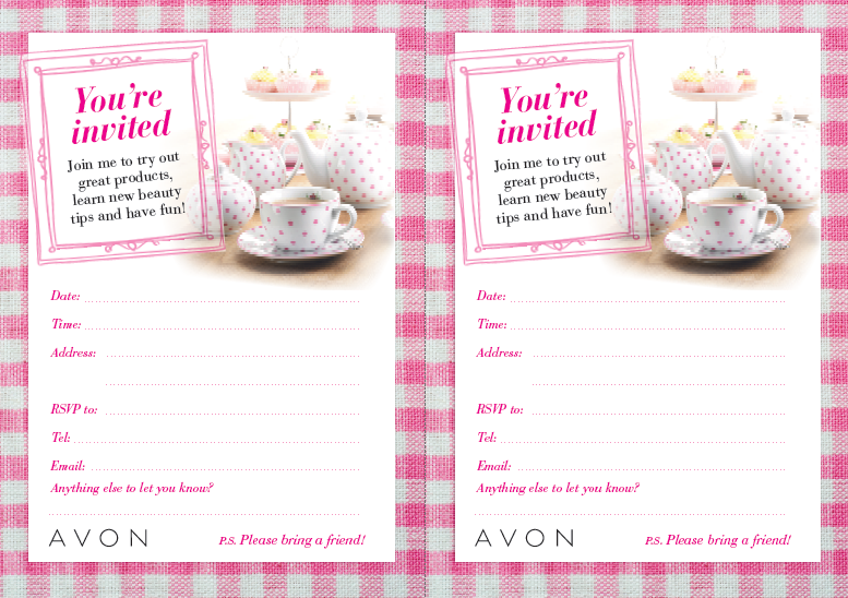 AVON Tea Party invitation! Cute, I need to make this! www.facebook.com/avonbylisaaf