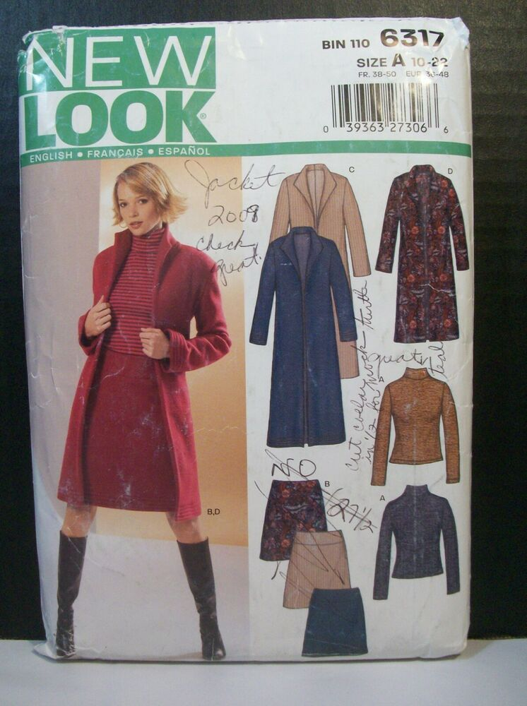 Simplicity New Look Pattern 6317 Size Miss A 10 22 Coat Long