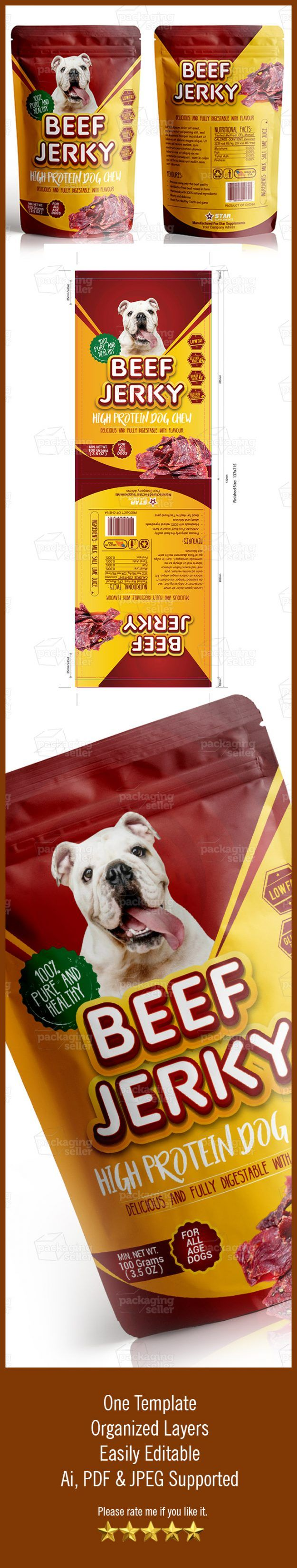 Beef Jerky Dog Supplement Vol 158 Packaging Seller Packaging Template Label Templates Beef Jerky