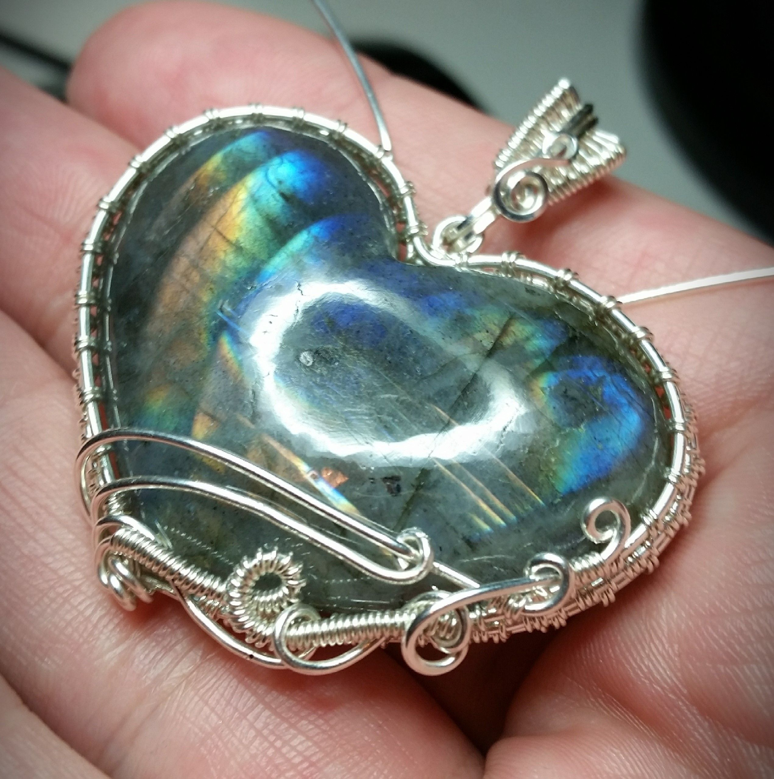 Sterling silver wire wrapped Labradorite heart pendant by Lepidus ...