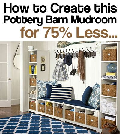 How to Turn a Wall into a Complete Mudroom with 2 Bookcases, 2 ...