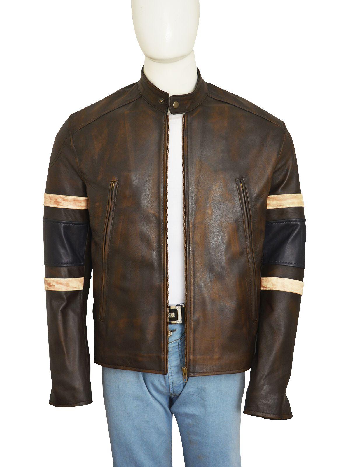 Distressed Brown Retro Zipped Biker Jacket Inspired by X-Men Jackman Wolverine