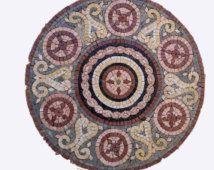 Handgemaakte mozaïek marmeren ronde tegel, handgemaakte mozaïek tafelblad.
