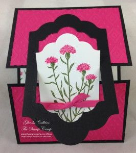hand crafted card ...  Interlocking front on gatefold card ... opens vertically .. luf the bold rose red with black ...  Stampin' Up!