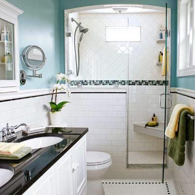 Small bath, glass door, toilet clearance Dream bathroom