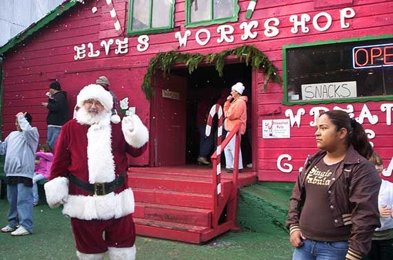 Santa At Elves Workshop At Santa S Tree Farm And Village In Hmb Christmas Tree Farm Live Christmas Trees Half Moon Bay