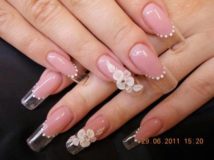 3d Flowers Over Clear Tips Nail Design Nails In 2018 Pinterest