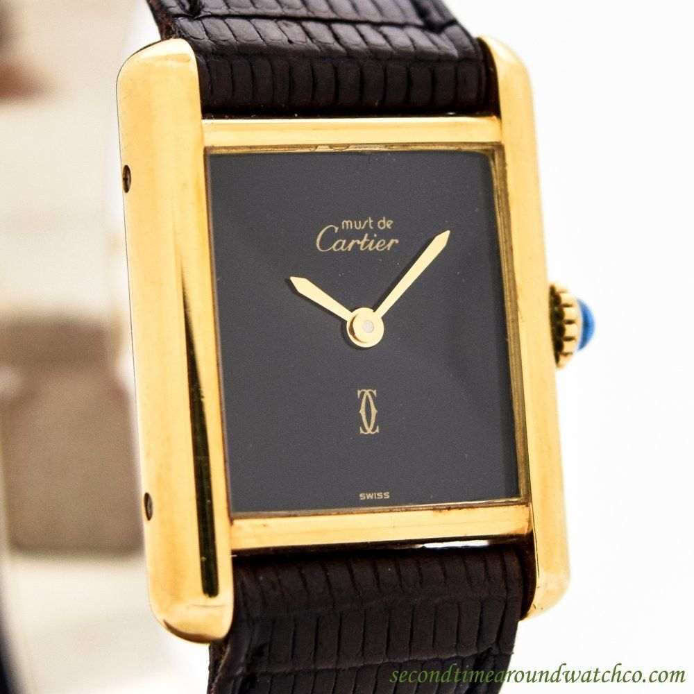 1980's Vintage Cartier Tank Must De 18k Yellow Gold Plated