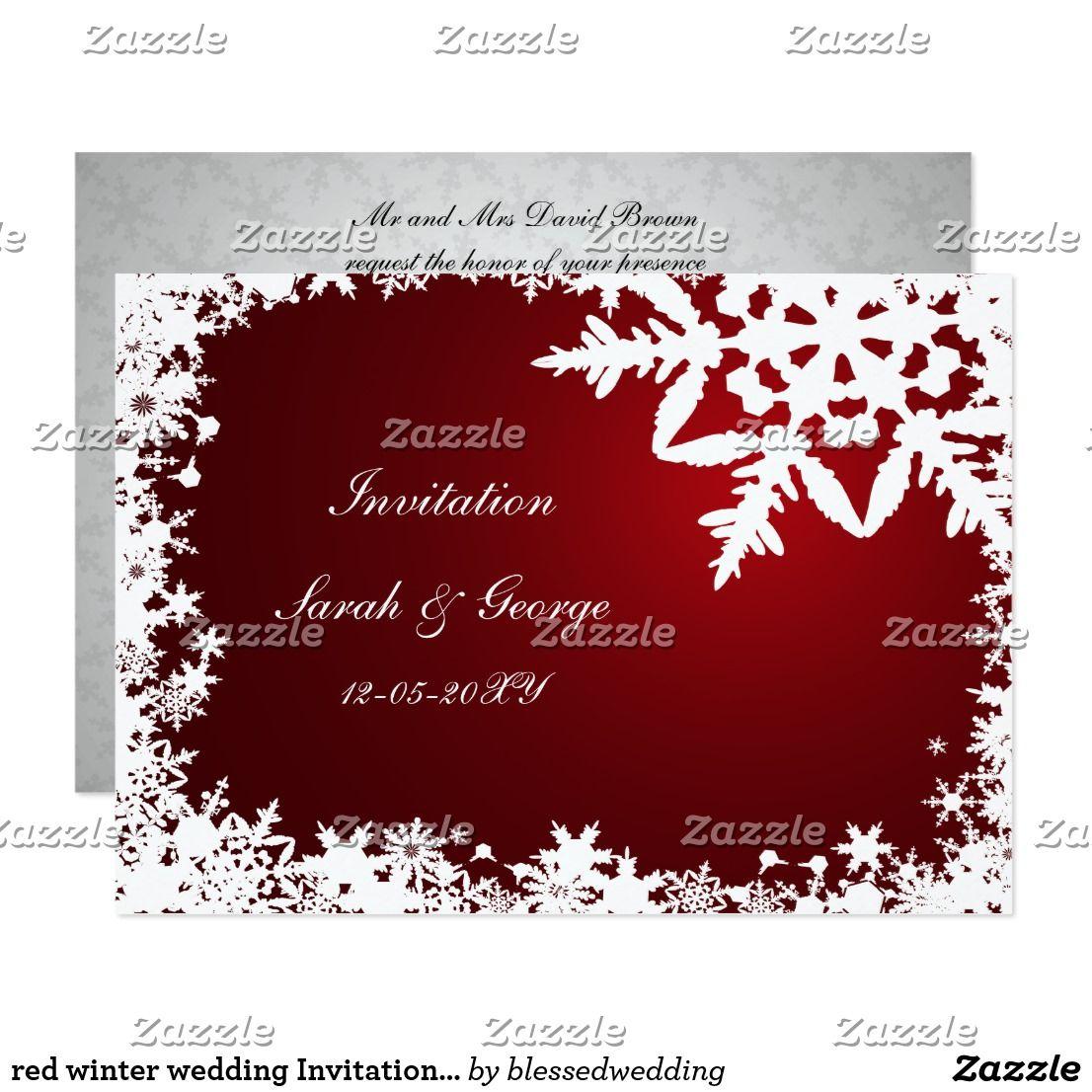 red winter wedding Invitation cards | Red winter weddings, Winter ...