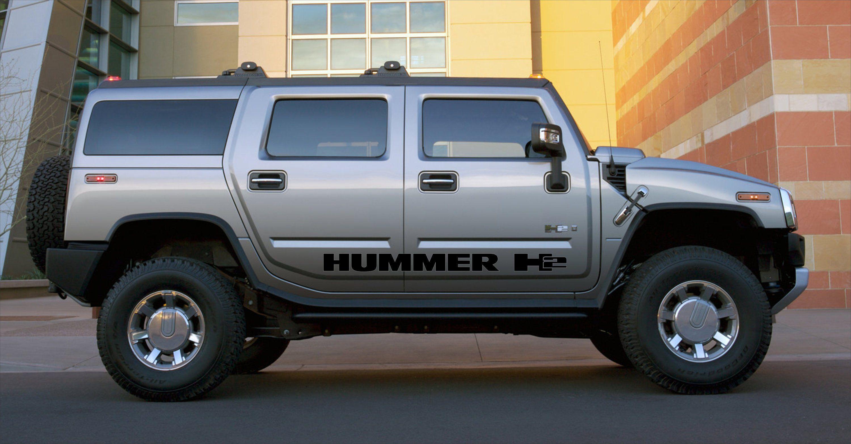 Hummer H2 Side 2x Stripes Body Decal Vinyl Graphics Sticker Logo