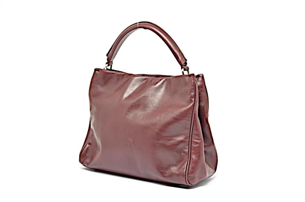 Tardini Plum Softest Leather Handbag With Hidden Magnetic Closure 10 X 8 Tote