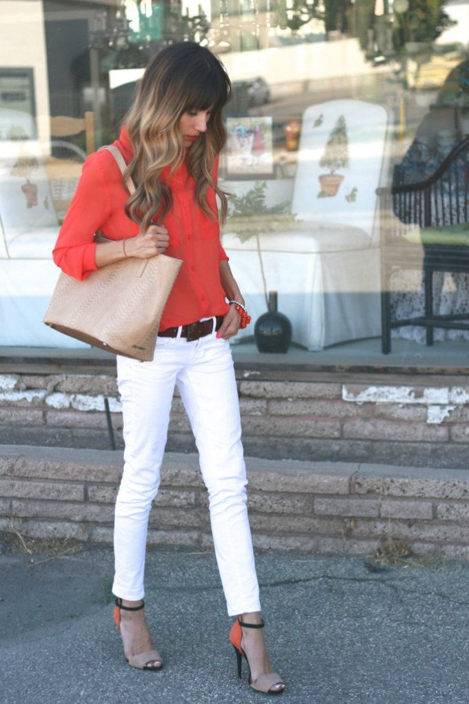 white jeans, tucked in blouse, thick belt