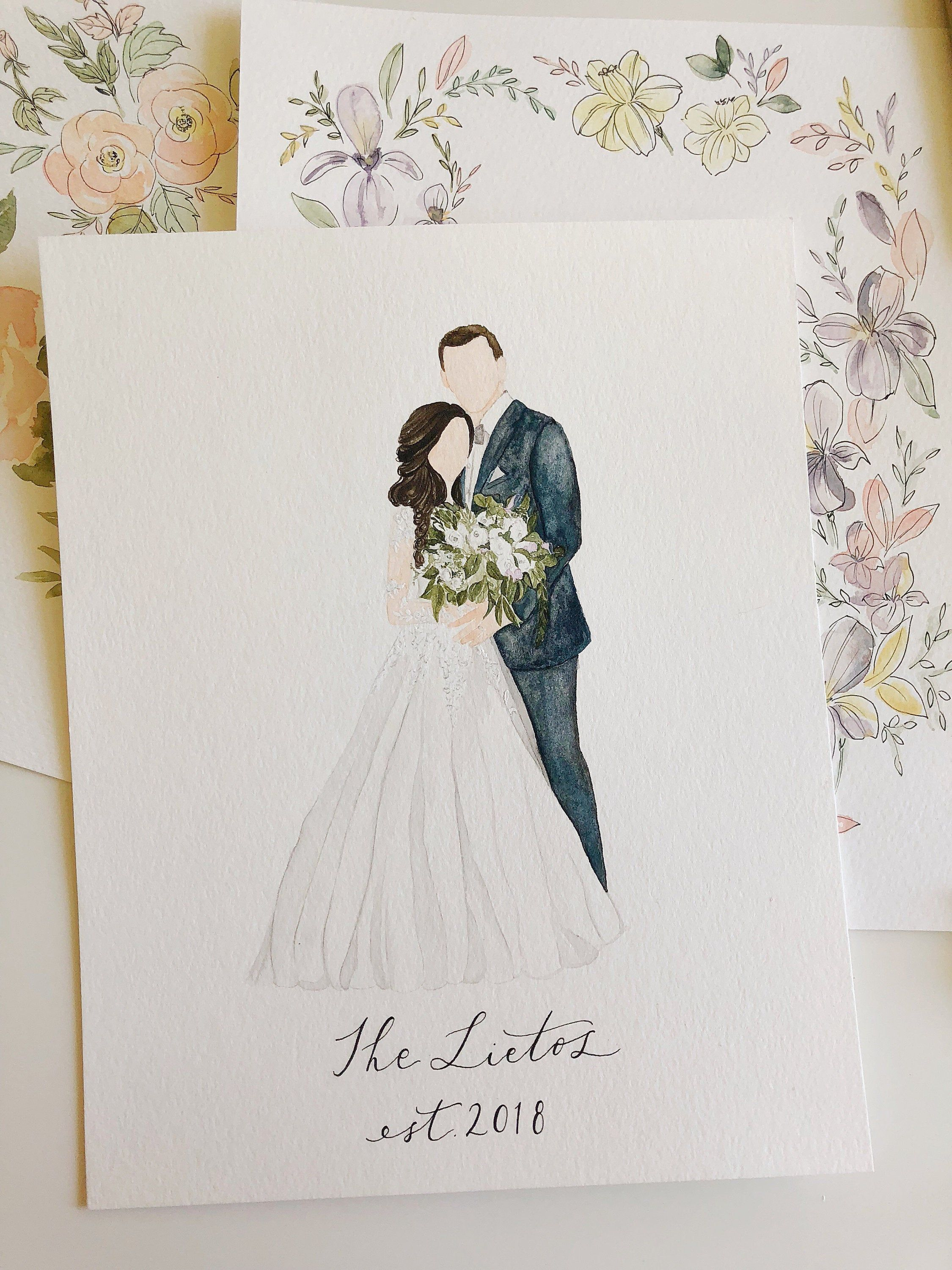 Custom Faceless Watercolor Wedding Portrait Bride And Groom