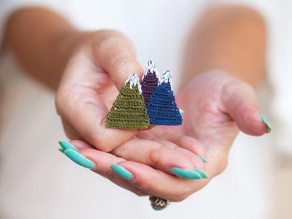 Crochet Mountain Brooch - Crochet Lace - Green Purple Blue - Fiber Art Jewelry - Boho Chic Jewelry