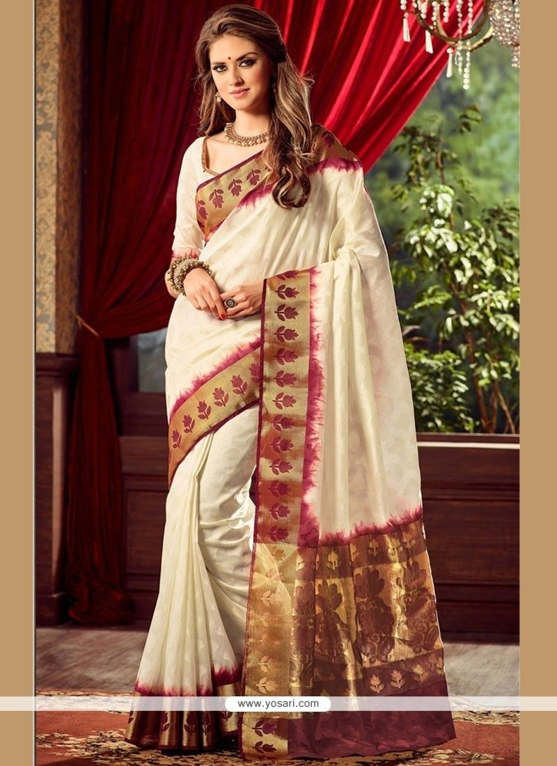 Off saree model images superb raw silk off white designer traditional sarees  pinterest