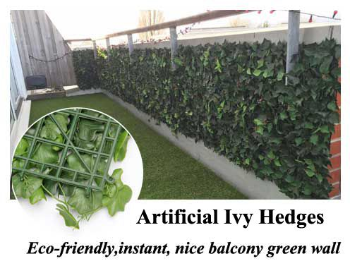 Artificial Ivy Hedges To Build Up Eco Friendly, Instant, Nice Balcony Green  Wall