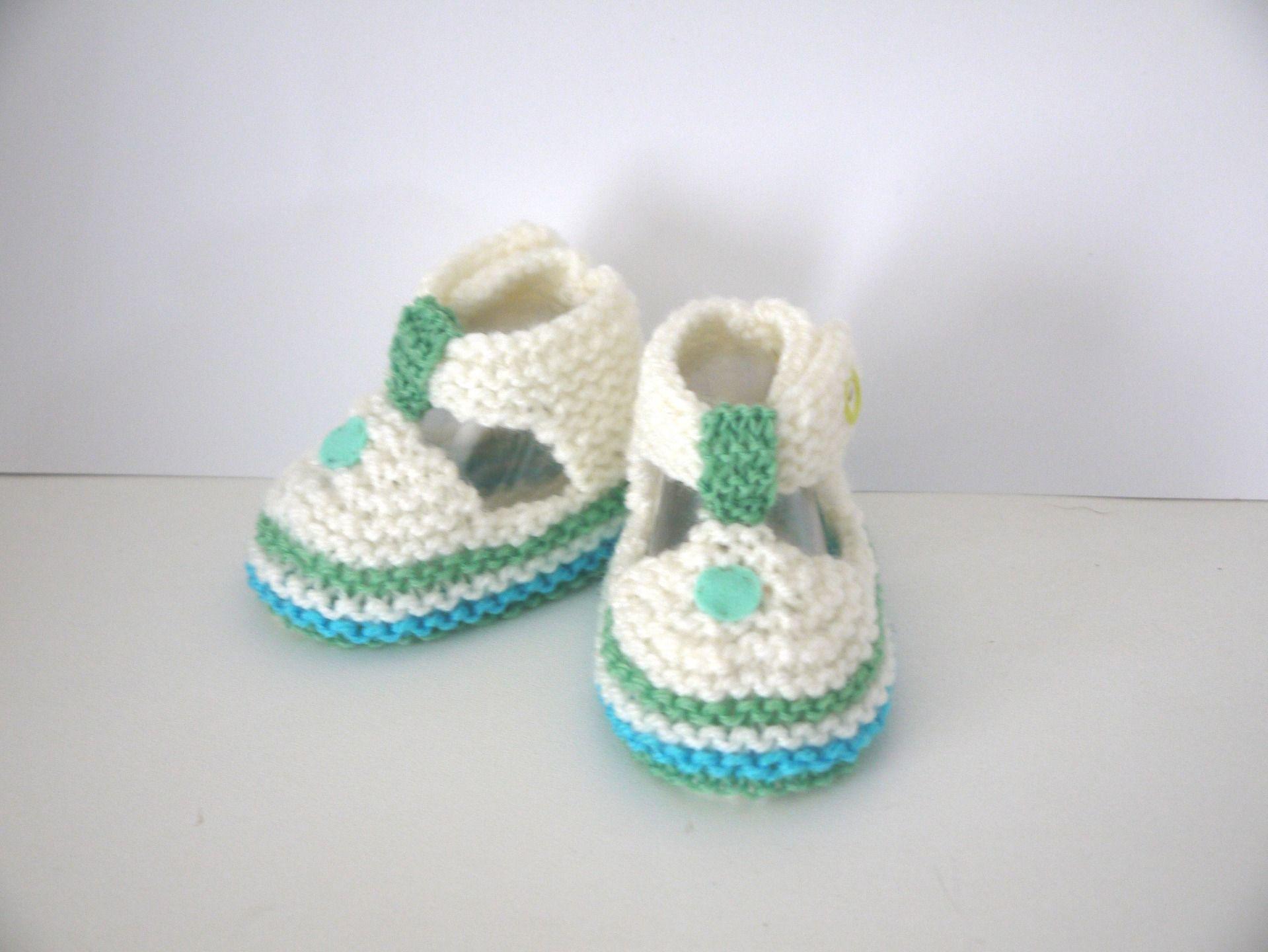 bf2e439924b09 CHAUSSURES CHAUSSONS 6 9 mois Bébé Garçon sandales LAINE FAIT MAIN LAYETTE  écru turquoise vert   Mode Bébé par sweet-creas