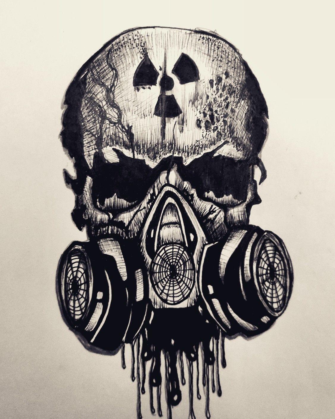 Skull Mask Drawing : skull, drawing, Inktober