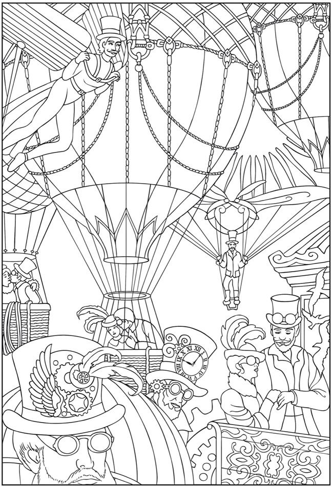 Dover Publications Steampunk Coloring Page