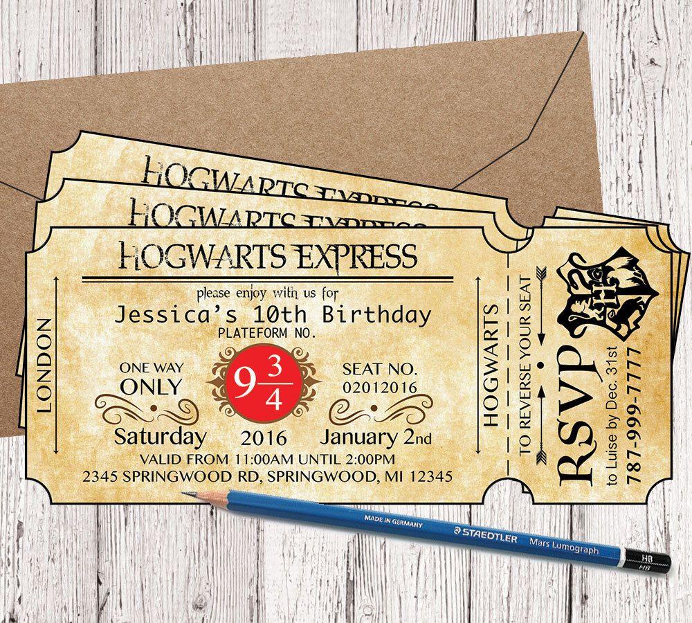Hogwarts Express Ticket Birthday Invitation, Hogwarts ...