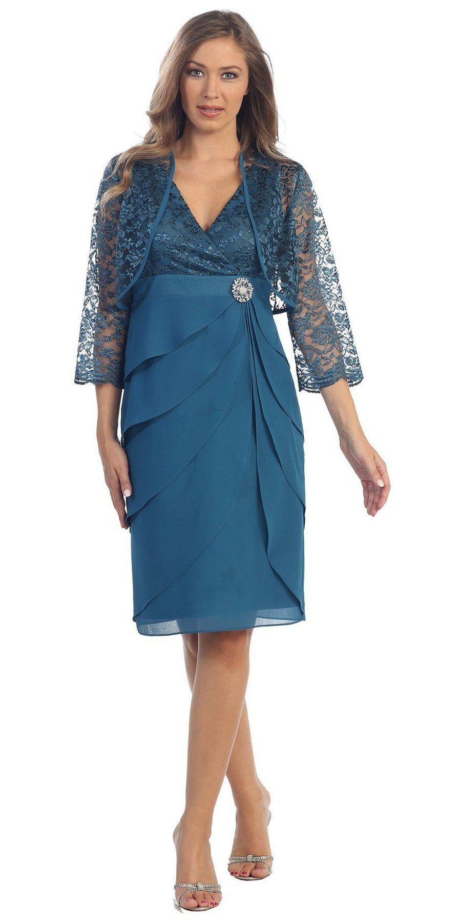 Short Formal Silver Dress V-Neck Lace Chiffon 3/4 Sleeve Jacket ...