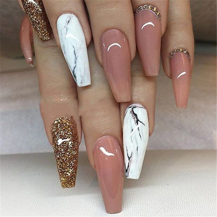 Attractive Marble Coffin Nails Design 2019 in 2019