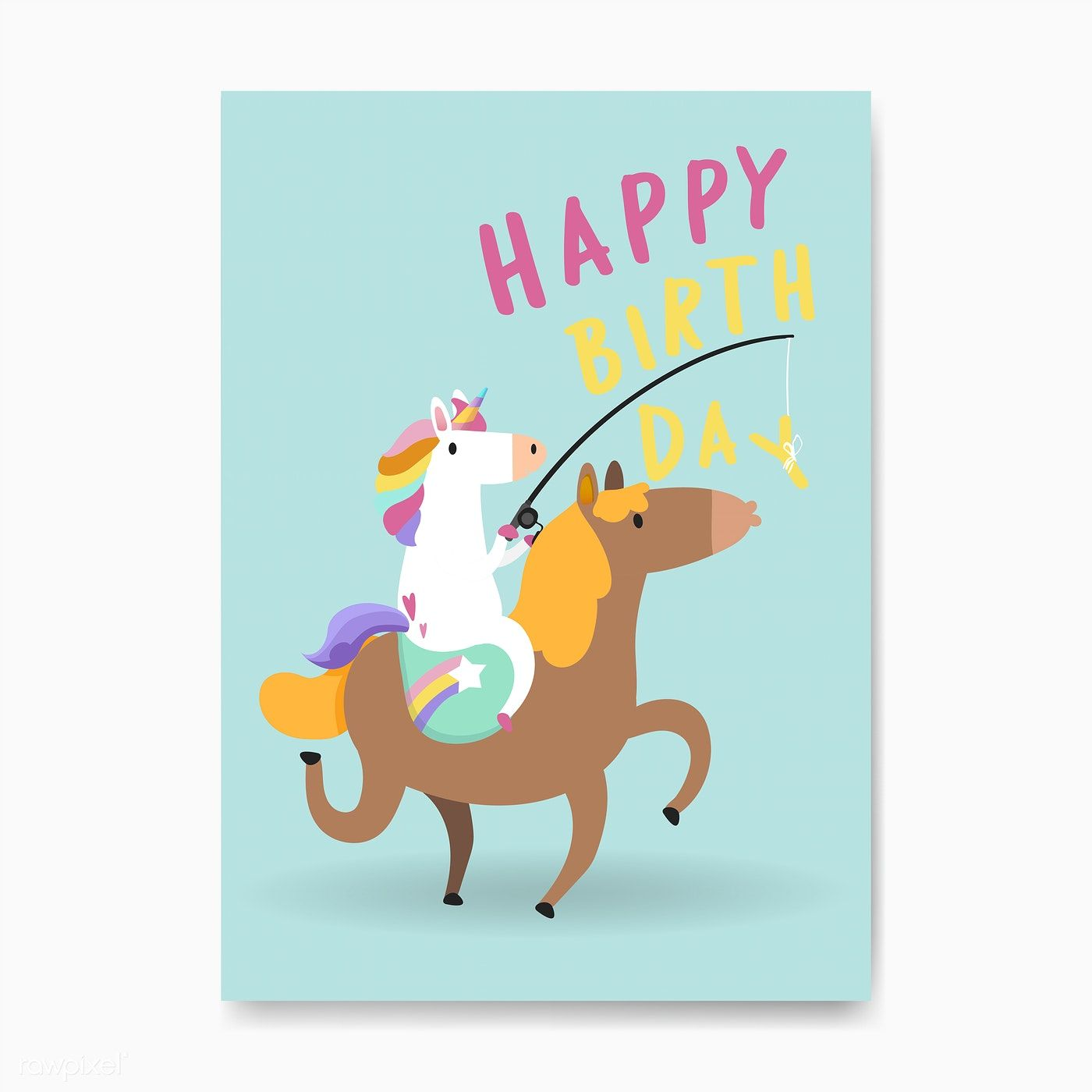 Happy Birthday Unicorn Card Vector Free Image By Rawpixel Com