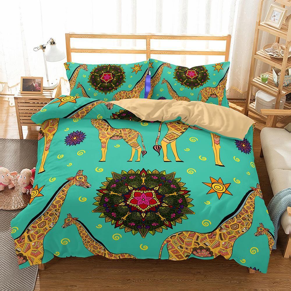 Animal Giraffe Bedroom Decor Quilt Cover Queen Size 3d Bedding Set
