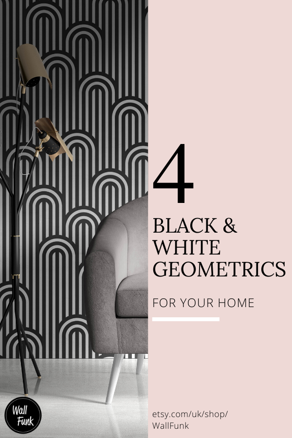 Black & White Geometric designs are ideal for creating a minimalistic interior and a modern feel to your home.  Check out these 4 black & white designs for your home decor and interior design inspiration.  #InteriorDesign #BlackandWhiteDecor #GeometricDecor #BedroomDecor #LoungeDecor #ArtDecoInspiration #WallpaperDesigns #BohoLounge #HomeDecorIdeas #HomeDecorInspiration #BathroomDecor #LivingRoomDecor #OfficeInspiration #HomeDecorInspiration