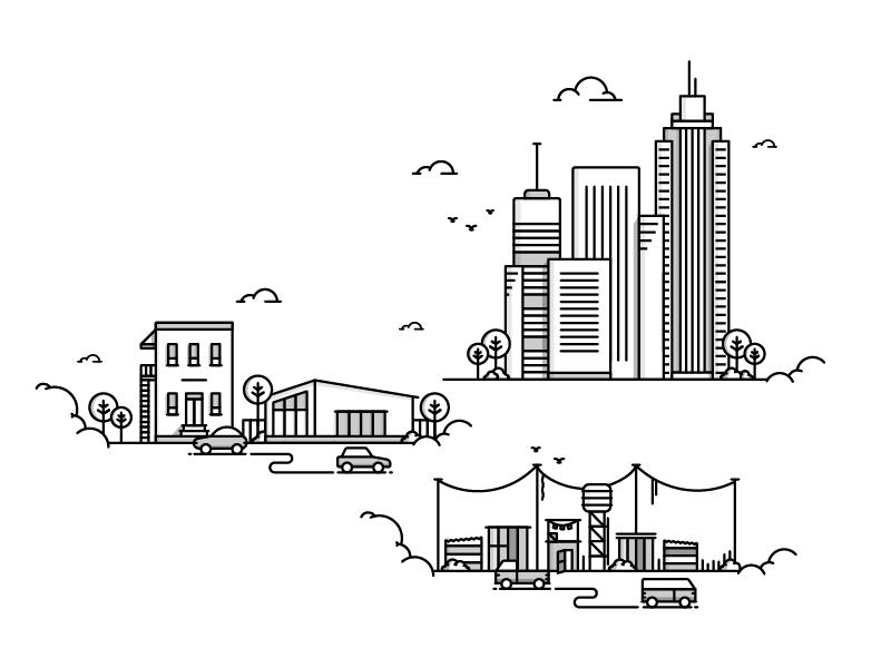 City Suburb Township Geometric Graphic Design City Icon Urban Icon