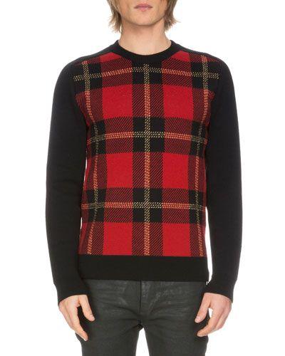 9a8bcd9ebc BALMAIN Tartan Plaid Wool-Blend Sweater, Black/Red. #balmain #cloth ...