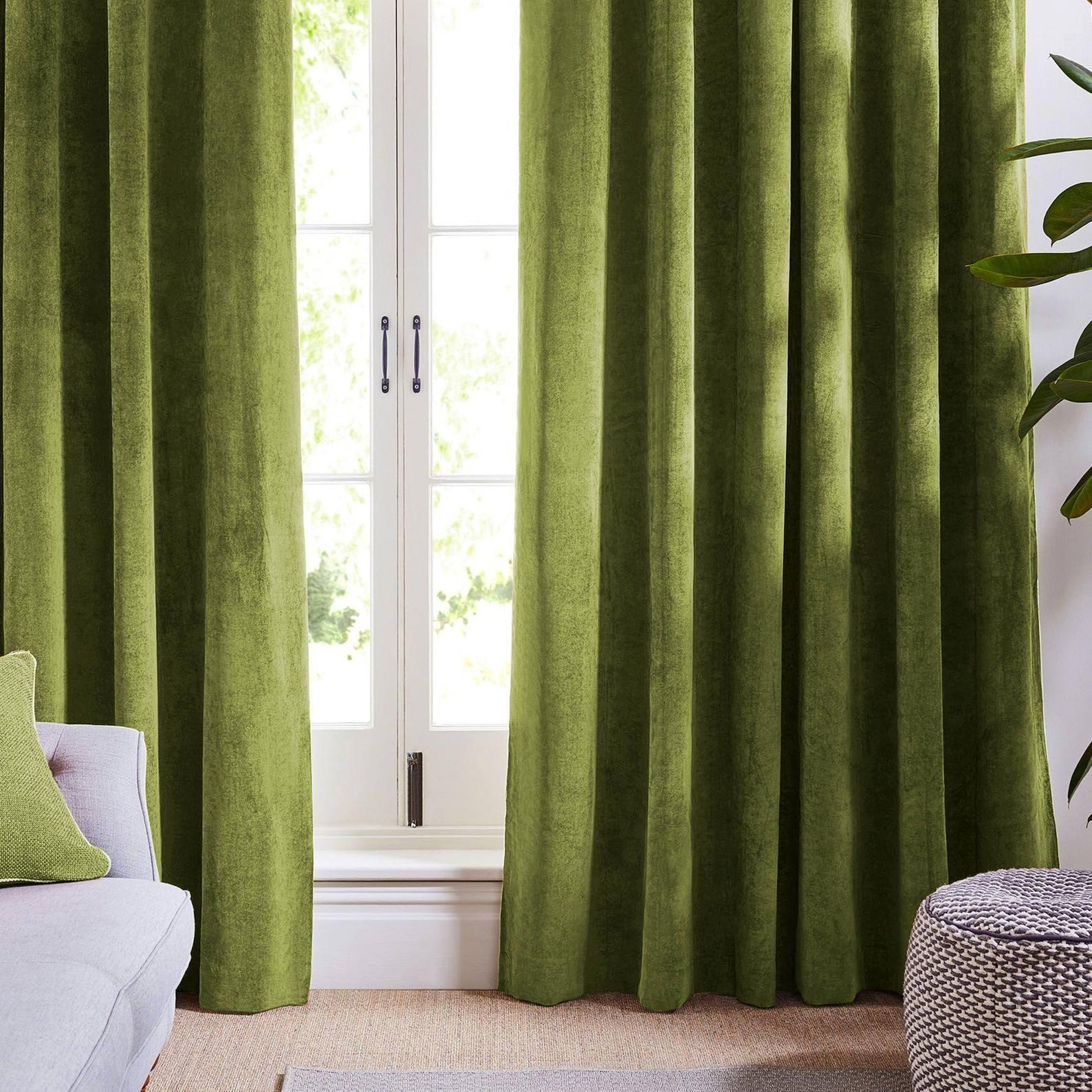 Olive Light Green Curtains Velvet Drapes Custom Drape Home Etsy In 2021 Light Green Curtains Green Curtains Velvet Curtains Green living room curtains