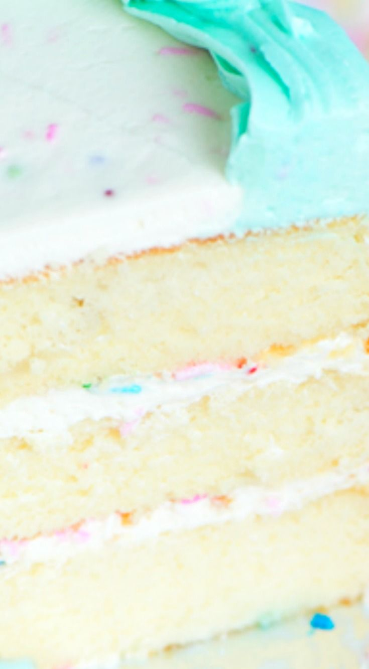 Best Buttermilk Birthday Cake 3 Layers Of Super Moist Vanilla Filled With Fluffy White Frosting And Sprinkles