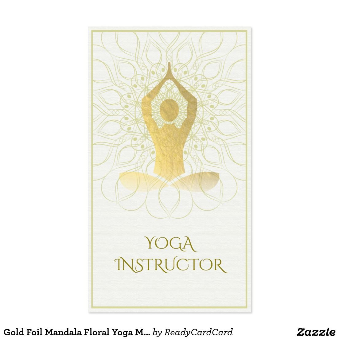 Gold Foil Mandala Floral Yoga Meditation Om Symbol Business Card ...