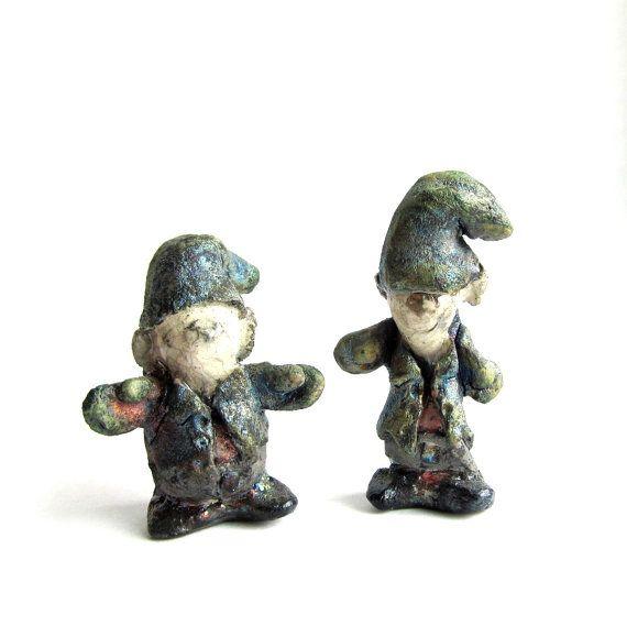 Miniature Fairy Garden Gnome or Elf Raku Pit Fired by mmartiniuk, $38.00