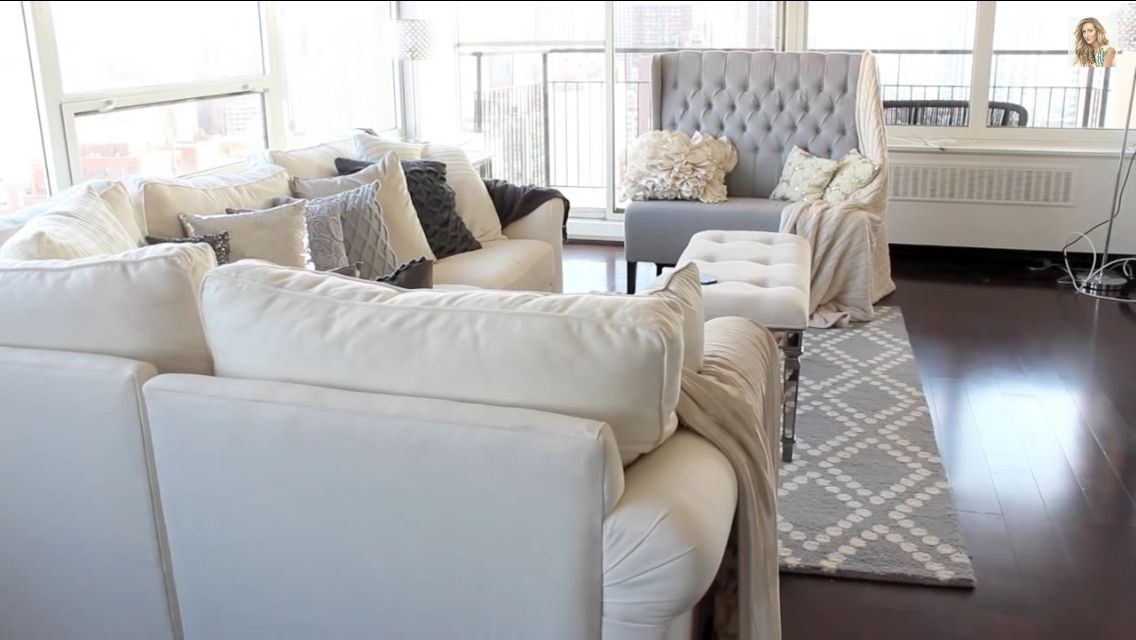 Grey, White, Beige Living Room