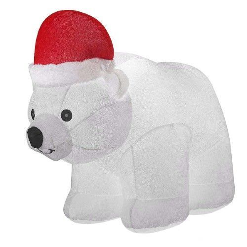 65ft Large Airblown Inflatable Polar Bear Décor, Christmas - christmas blow up decorations